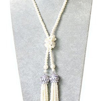 """YallFF ART Deco 1920's Flapper the Great Gatsby Inspired Double Crown Tassel Pendants Rhinestone Crystal Faux Imitation Pearls 47"""" Chian Rope Necklace"""