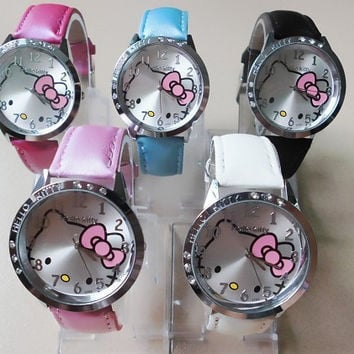 10 pcs/lot HOT Sale Fashion Cartoon Watch Hello Kitty Watches woman children kids watch mix color