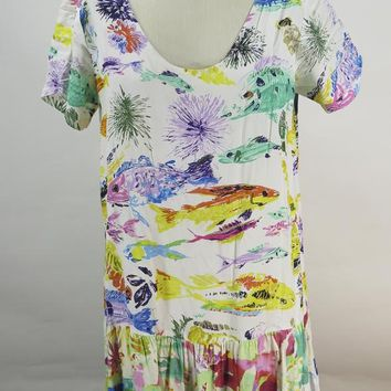 Jams World Women Hattie Multi Color Fish Print Dress Size Medium