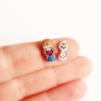 Anna and Olaf from Frozen, stud earrings