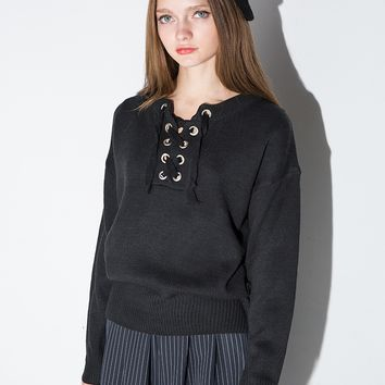 Black Eyelet Lace Tie Sweater