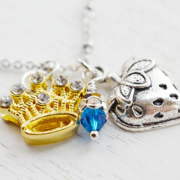 Zeta Tau Alpha, Crown and Strawberry Necklace,Sorority Necklace,Mixed Metal Necklace,Sorority Jewelry,Crown Necklace,Fruit Necklace,Greek