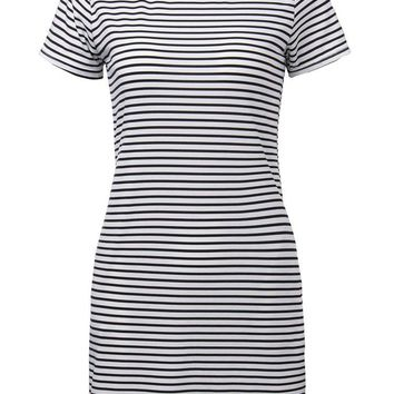 Cross Striped Preppy Style Casual Women  Mini T-Shirt Dress