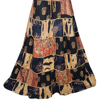 Mogulinterior Womens Patchwork Skirts Artistically Inspired Flowy Vintage Ethnic Printed Long Skirts