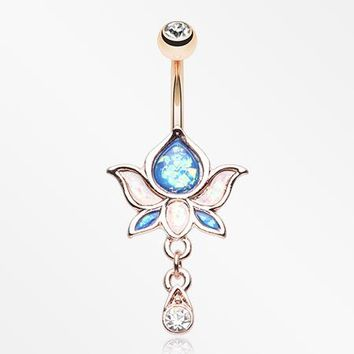 Rose Gold Lotus Zen Opalescent Sparkle Belly Button Ring