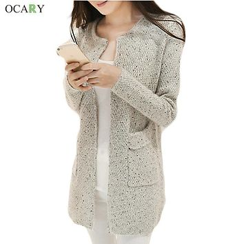 New Winter Women Casual Long Sleeve Knitted Cardigans Autumn Crochet Ladies Sweaters Fashion Tricotado Cardigan