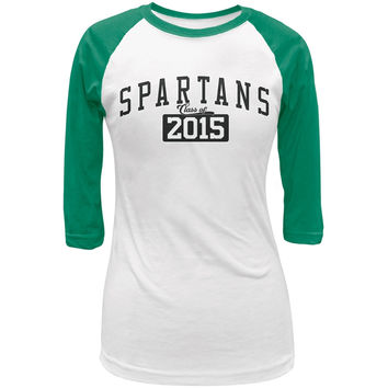 Graduation - Spartans Class of 2015 White/Kelly Green Juniors 3/4 Raglan T-Shirt