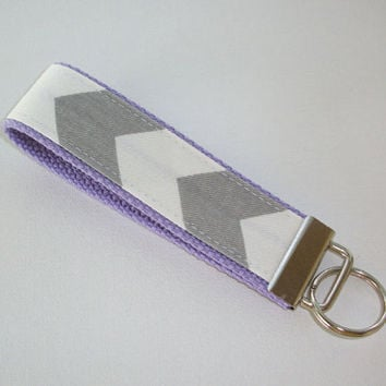 Key FOB / KeyChain / Wristlet  - Gray Chevron on lanender purple  - Zig Zag zigzag