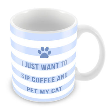 Sip Coffee and Pet My Cat Mug Coffee Mug Funny Mug Feline Gift Paw Print Meow Cat face PM6