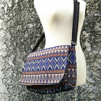 Messenger Bag iPad Tablet Cross Body Shoulder Bags Ethnic Laptop Aztec Purse Boho Hobo Bohemian Chic Ikat Tribal Pouch Hipster Handmade Blue