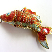 Asian Cloisonné Enamel Fish Pendant, Articulated, Orange Blue White, Vintage 3.75 inches