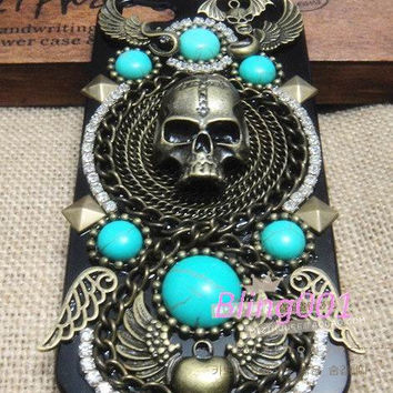 Turquoise iPhone 5 case samsung galaxy s3 case i9300 steampunk iPhone cover turquoise chain brozen Skull iPhone 4 case iPhone4s cover