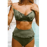 Green Ruffled Detail 2 Piece  High Waist Bikini Set