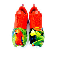 Nike Red Marble Roshe Run Custom Tropical Animals