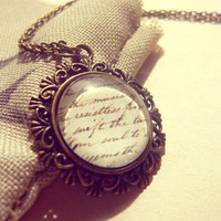 Vintage Retro Antique Brass Handwriting Letter Romantic Necklace - Free Shipping - Made to order :)