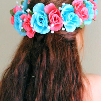 Pink Flower Crown, Blue Flower Crown, Rose Crowns, Floral Hair Accessories, Coachella Headbands, Coachella Festival Hair Accessories
