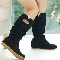 Plus Size Eu 35-43  Wedges Plicated Lace Edge Women's Fashion Black Flat Bottom Mid-Calf Boots Woolen Warm Winter Shoes = 1945759172