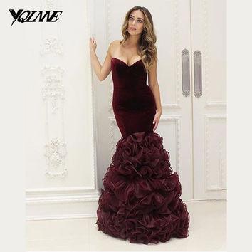 Classic Burgundy Mermaid Prom Dresses Long Evening Gown Sweetheart Velour Organza Refflus Zipper Back Women Party Dress