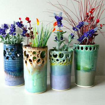 Vase / Made to Order / Handmade Wheel-Thrown Ceramic Pottery/ Lavender and Blue