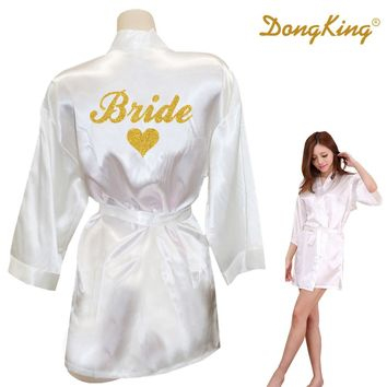DongKing Bride Robe Bride Heart Kimono Golden Glitter Print Robes Wedding Preparewear Gift Bridal Party Faux Silk Satin Dress