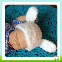 Thick Snuggly Adorable Little Lamb Baby Hat w- Plush Ears, ear For Newborn Infant Beanie Fashion Photo Prop