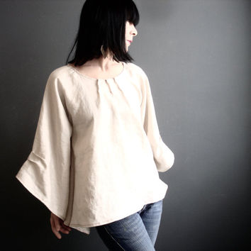 Natural Linen Top - iheartfink Handmade Womens Solid Lightest Tan Kimono Bell Sleeves Modern Bohemian Spring Fashion Linen Blouse