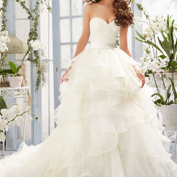 Asymmetrical Draping and Flounced Organza Morilee Bridal Wedding Dress | Style 5401 | Morilee