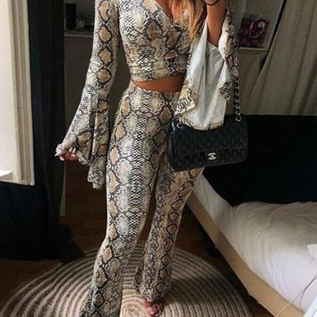 New Brown Snakeskin Cobra Print Sashes Two Piece Bell Bottoms Deep V-neck Long Flare Jumpsuit