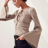 Silence + Noise Plunging Bell-Sleeve Top | Urban Outfitters