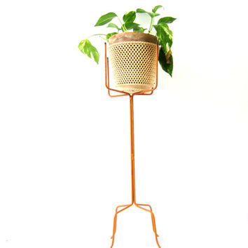 Mid Century Orange Metal Retro Plant Stand Home Decor Tall Planter