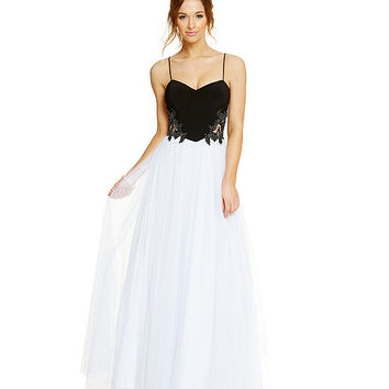 Blondie Nites Embroidered Sides Colorblock Long Dress | Dillards