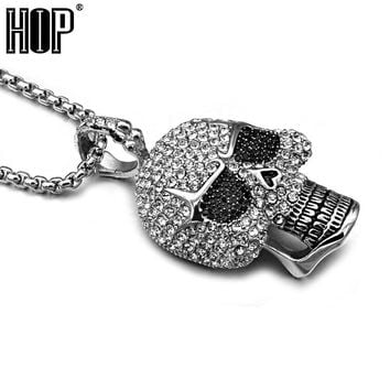 Titanium Stainless Steel Ice Out Bling Full Micro Pave Rhinestone Skeleton Skull Pendant Necklace