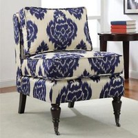 Indigo Ikat Armless Chair Seat Living Room Seat Furniture Accent Home Modern