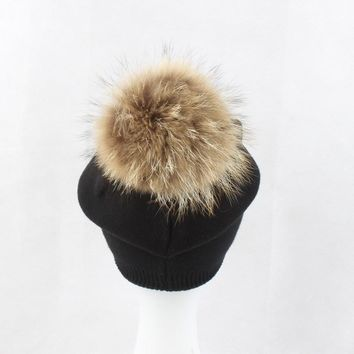 New wInter hat Female Models Pure Color Wool Hat Warm Raccoon Hair Ball Cap Cashmere Knitted Hat Skullies Adult Woolen Wild