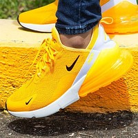 NIKE AIR MAX 270 Popular Women Leisure Breathable Air Cushion Running Shoes Sneakers Yellow
