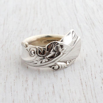 Vintage Wallace Sterling Silver Spoon Ring - Size 6 1/2 Retro Flatware Jewelry / Chunky Statement