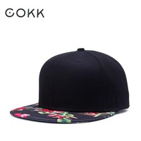 COKK Baseball Cap Women Hip Hop Flower Pattern Cap Brim Straight Snapback Hats For Men Black Baseball Caps Hat Bone Male Female