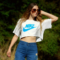 1980s NIKE Crop Top, Vintage T Shirt, 80s Sporty Athletic TEE, Cotton Cropped t Shirt, Large XL Oversized Boxy Top, White Blue Nike Swoosh