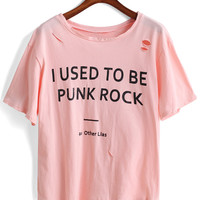 Pink Letter Print Ripped Short Sleeve T-shirt