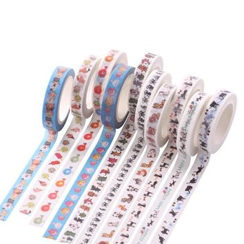 Kawaii Colorful Patterns Japanese Washi Tape Decorative DIY Masking Tape for Scrapbooking, 8mm*7m ,Cute Stationery 1059