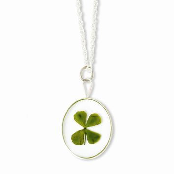 Sterling Silver Trim Four Leaf Clover Oval w/ Silver-plated Chain