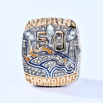 Replcia Solid Zinc Alloy 2015 Denver Broncos 50 Super Bowl Championship Ring Manning Size 6-14 sport Rings