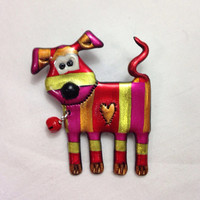 Red, Pink, and Yellow Dog Pin - Valentine Puppy Brooch - Puppy Love Gift for the Dog Lover