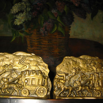 Brass Equestrian Bookends High Relief Coaches And Buggies