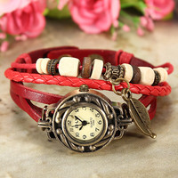 Vintage Weave Leaf Leather Quartz Wrist Watch Bracelet