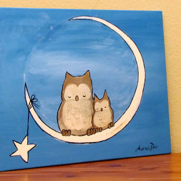 Kids Wall Art Whimsical Owl Painting by Andrea Doss by andralynn