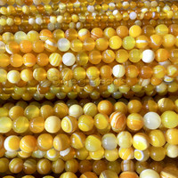 yellow agate banded agate beads - yellow stone agates - yellow gemstone beads -materials for making bracelets - yellow beads -15inch
