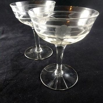 Needle Etched Champagne Coupes