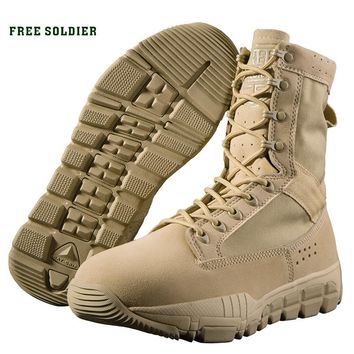 FREE SOLDIER outdoor sports tactical military men bootswear-resistant breathable hiking camping shoes,average height ankle boots