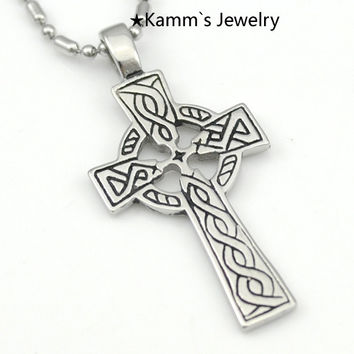 R106 Ankh Cross Silver 316 Stainless Steel Men Pendant necklace halloween KP082